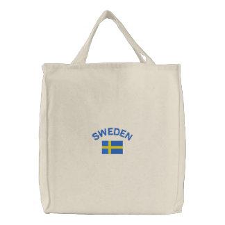 Schwedische Flagge im Blau und im Gelb Bestickte Tragetasche