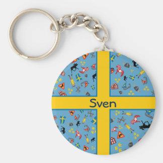 Schwedische Kultureinzelteile mit Flagge Schlüsselanhänger