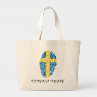 Schwedische Touchfingerabdruckflagge Jumbo Stoffbeutel