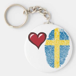 Schwedische Touchfingerabdruckflagge Standard Runder Schlüsselanhänger