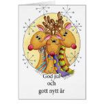 Schwedische Weihnachtskarte - Ren - Gottjul och Grußkarte
