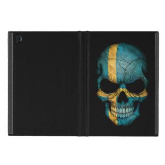 Schwedischer Flaggen-Schädel auf Schwarzem Schutzhülle Fürs iPad Mini