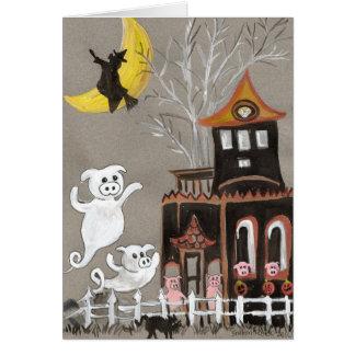 Schwein-Geist-Spuk Haus-Halloween-KARTE Grußkarte