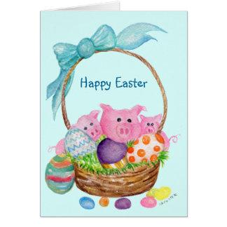 Schwein-glückliche Ostern-Karte. Schweine, Eier, Grußkarte