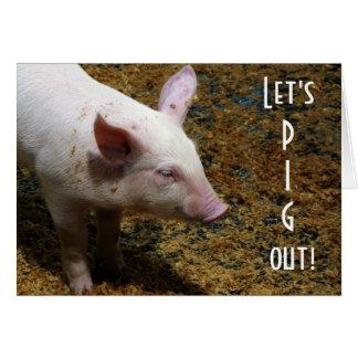 Schwein heraus!   Baby-Ferkel-Foto Karte