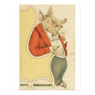 Schwein im Stuhl Postkarte