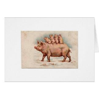 Schwein und Ferkel (freier Raum nach innen) Karte