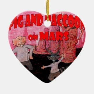 Schwein und Raccoon auf Mars Keramik Ornament