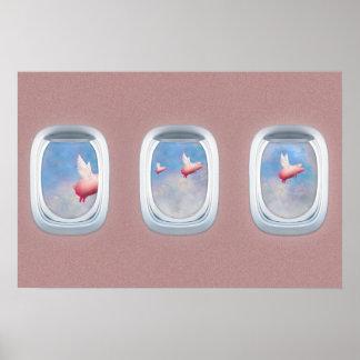 Schweine, die hinter Flugzeugfenster fliegen Poster