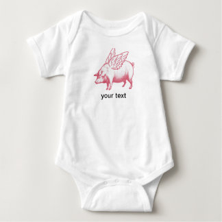 Schweine fliegen! baby strampler