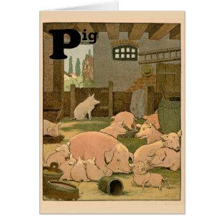 Schweine und Ferkel auf dem Bauernhof-Alphabet Karte