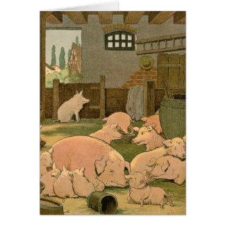 Schweine und Ferkel auf dem Bauernhof Karte