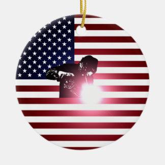Schweißer und amerikanische Flagge Keramik Ornament