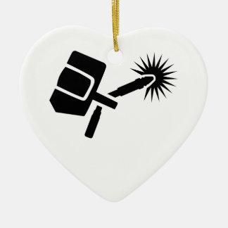 Schweißerausrüstung Keramik Herz-Ornament