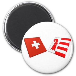 Schweiz- und Jura-Flaggen Runder Magnet 5,1 Cm
