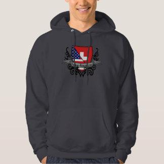 Schweizer-Amerikanische Schild-Flagge Hoodie