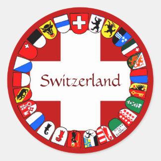 Schweizer Bezirke Runder Aufkleber