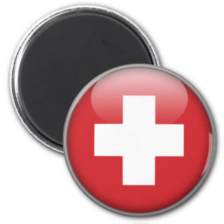 Schweizer Flagge - Flagge von der Schweiz Runder Magnet 5,7 Cm