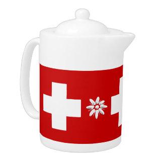 Schweizer Flagge und edelweiss