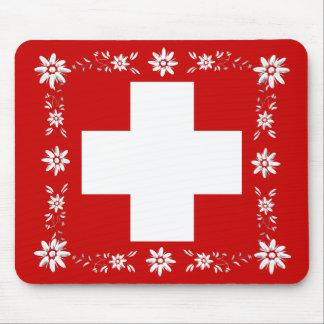 Schweizer Flagge und edelweiss 2 Mauspad
