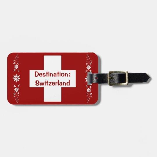 Schweizer Flagge Und Edelweiss Gepäckanhänger