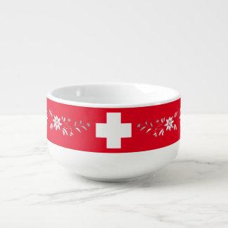 Schweizer Flagge und edelweiss Große Suppentasse