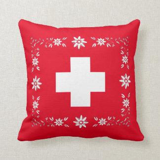 Schweizer Flagge und edelweiss Kissen