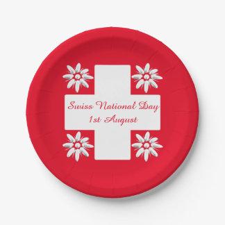 Schweizer Flagge und edelweiss Pappteller