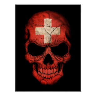 Schweizer Flaggen-Schädel auf Schwarzem Poster