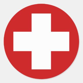 Schweizer Kreuz-Notfall Roundell Runder Aufkleber