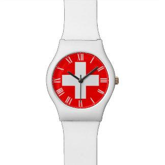 Schweizer-Uhr - Schweizer Flagge und römische Uhren