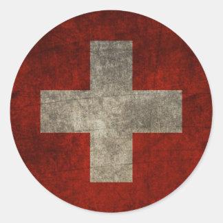 Schweizer und stolz runder aufkleber