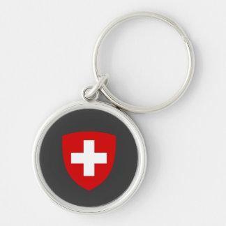 Schweizer Wappen - die Schweiz-Andenken Silberfarbener Runder Schlüsselanhänger