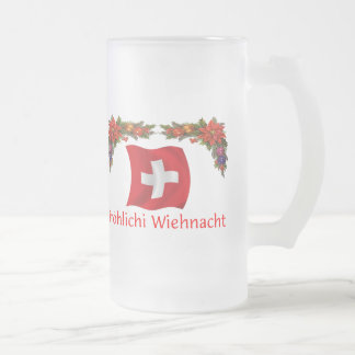 Schweizer Weihnachten Mattglas Bierglas