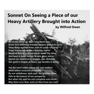 Schwere Artillerie-Sonett Wilfred Owens Poster
