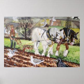 Schwere Pferde, die im März pflügen Poster