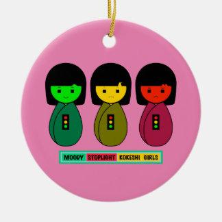 Schwermütige Stoplight Kokeshi Mädchen mit Keramik Ornament