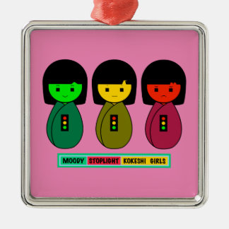 Schwermütige Stoplight Kokeshi Mädchen mit Silbernes Ornament