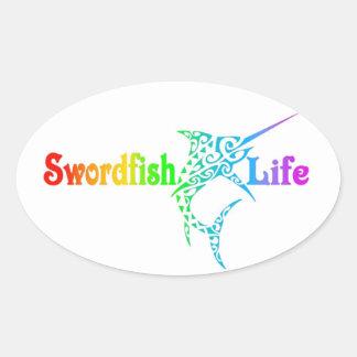 Schwertfisch-Leben Ovaler Aufkleber