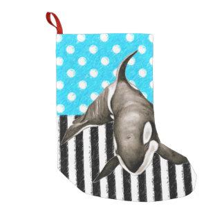 Schwertwal-Blau-Tupfen Kleiner Weihnachtsstrumpf