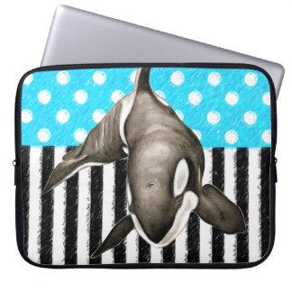 Schwertwal-Blau-Tupfen Laptopschutzhülle