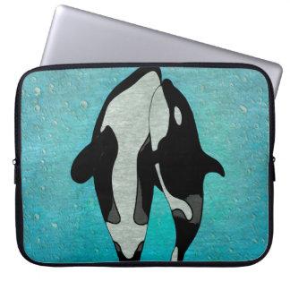 Schwertwal-Blau Woodblock Laptopschutzhülle