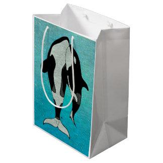 Schwertwal-Blau Woodblock Mittlere Geschenktüte