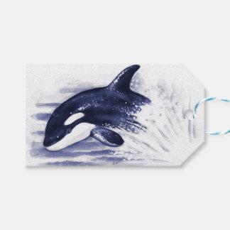 Schwertwal, der Blau durchbricht Geschenkanhänger