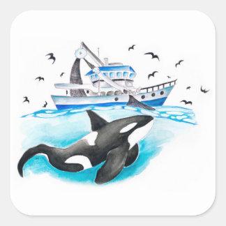 Schwertwal-Fischerboot Quadratischer Aufkleber