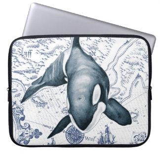 Schwertwal-Karten-Blau Laptop Sleeve