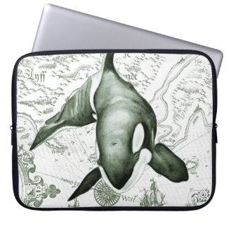 Schwertwal-Karten-Grün Laptopschutzhülle