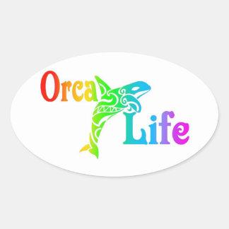 Schwertwal-Leben Ovaler Aufkleber
