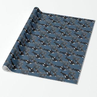 Schwertwal-Packpapier-Killerwal-Weihnachtspapier Geschenkpapier