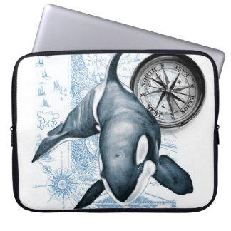Schwertwal-Wal-Kompass Laptop Sleeve